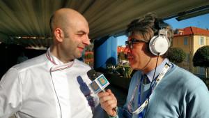 Antonio Di Trento di Radio Show Italia con il consigliere Fic, chef Seby Sorbello