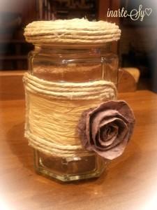 6 barattolo con rosa in finto feltro