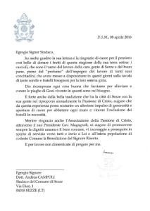 Sezze, la lettera del Papa