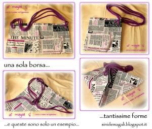 borsa multiforma collage