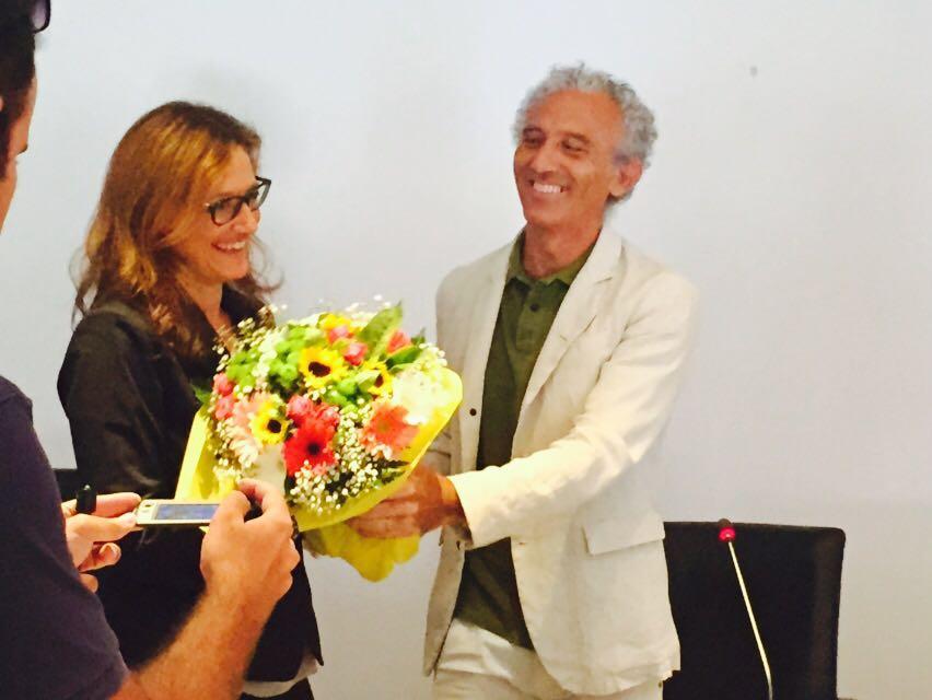 Il segretario Rosa Iovinella e il sindaco Damiano Coletta