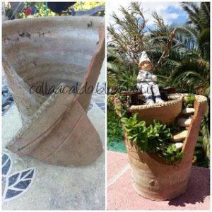 Riciclo creativo di un vaso rotto
